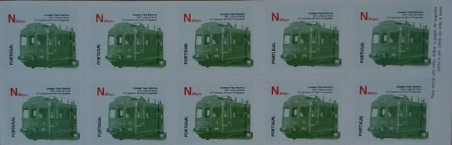 Tira de 10 selos - etiquetas autocolantes - Comboio Linha Sintra - UTE