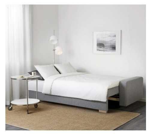 Kanapa/sofa IKEA rozkładana szara 3 nowe poduszki