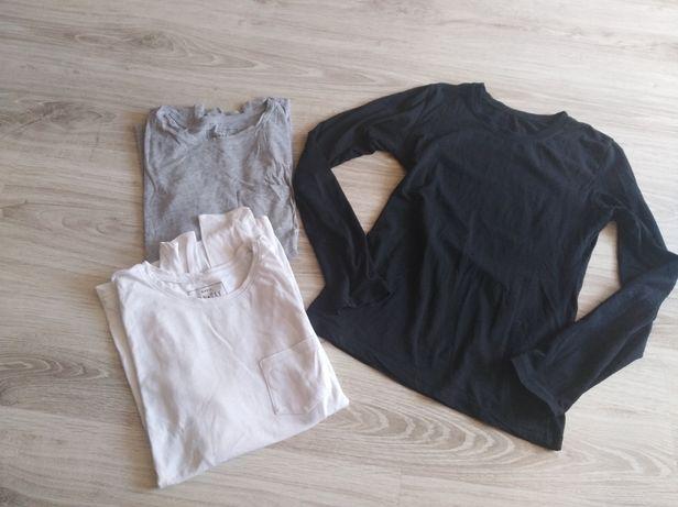 Trzy gładkie bluzeczki z długim rękawem r. S