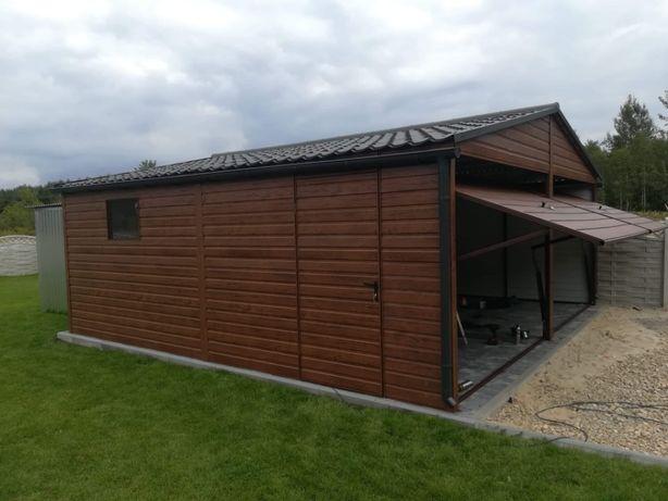 Garaż drewnopodobny 6x6 blachodachówka blaszak MOCNY