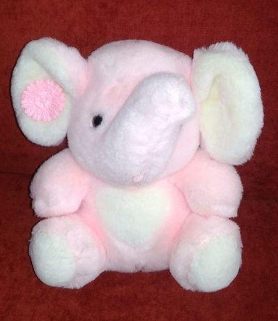 Мягкая игрушка розовый слонёнок, высота 23 см. Состояние отличное!