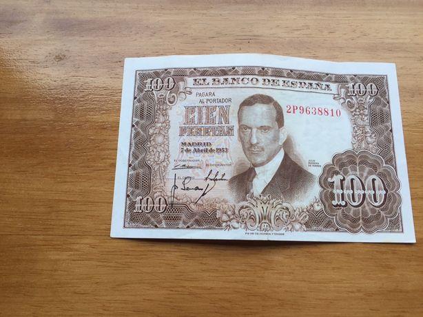 Nota 100 pesetas 1953