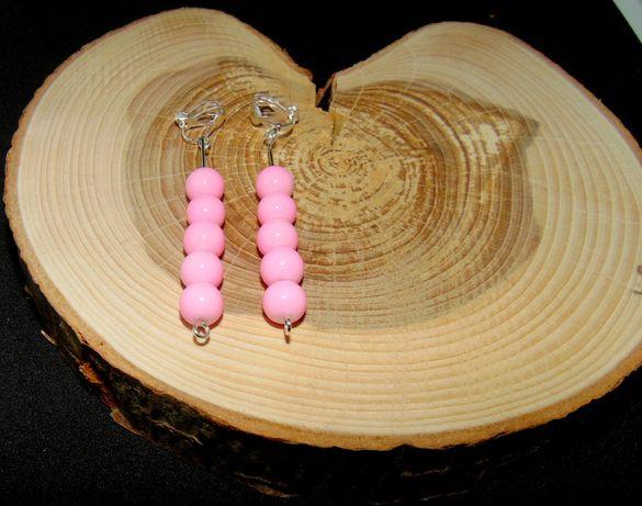 Różowe kulki klipsy