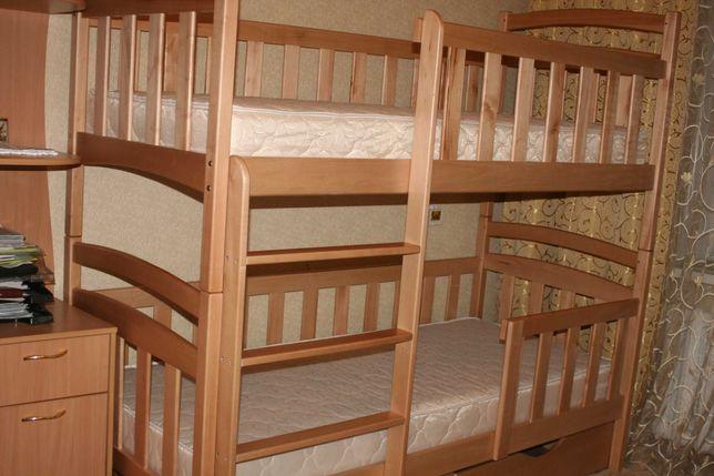 Детская мебель - купить двухъярусную кровать трансформер с дерева!