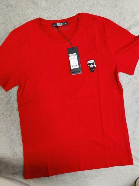 Koszulka męska Karl Lagerfield Shirt Czerwona Outlet Premium KL