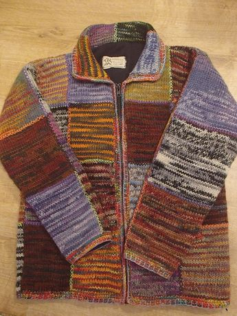unikatowa kurtka sweter wełna wool 100% jak NEPAL