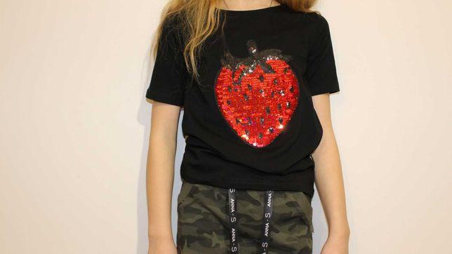 Czarna dziecięca koszulka/T-shirt z cekinami r.140