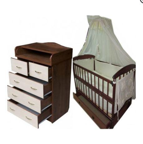 АКЦИЯ! Набор Комод кроватка матрас маятник постельный набор в кроватку