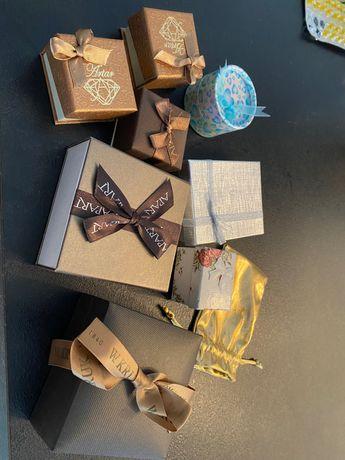 Zestaw pudełeczek opakowań puzderek kruk apart jubitom złoty woreczek