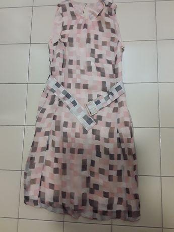 Vestido muito elegante padrão quadrados vários rosas, cinzento, tam. S