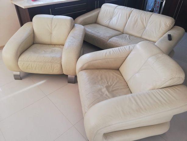 Kanapa skórzana + 2 fotele