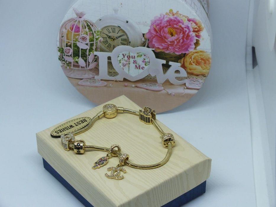 **Nowa złota bransoletka z Charmsami-p.585-Lombard Stówka** Grudziądz - image 1