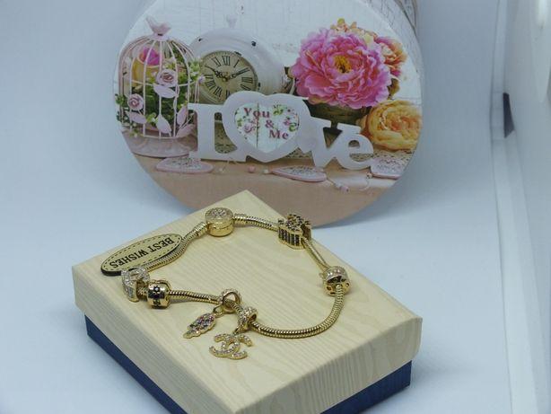 **Nowa złota bransoletka z Charmsami-p.585-Lombard Stówka**