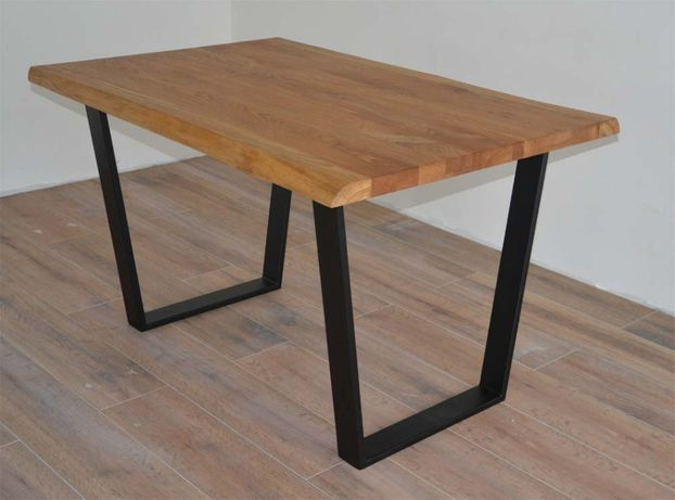 Stół industrialny LOFT, Dębowyt stół, stół z blatem dębowym