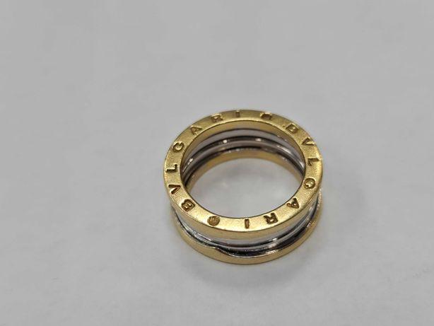 Wyjątkowa złota obrączka damska/ 750/ 11.58 gram/ R16/ Żółte + białe