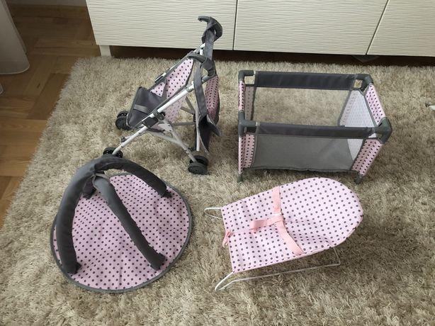 Wózek dla lalek - w zestawie łóżeczko, leżaczek, mata i torebka