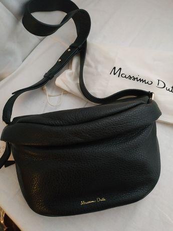 Massimo Dutti torebka nerka na ramię skóra nat.czarna