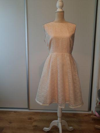 Suknia 40 sukienka 42 balowa Little Mistress morelowa/biała/beżowa/ 1z