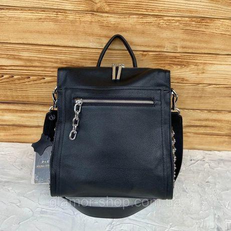 Женский кожаный рюкзак сумка 2 в 1 Polina & Eiterou жіночий рранець