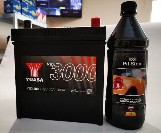 Akumulator YUASA YBX3008 50Ah 400A + GRATIS