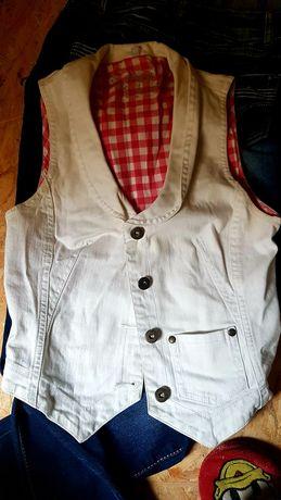 Kamizelka biała jeansowa