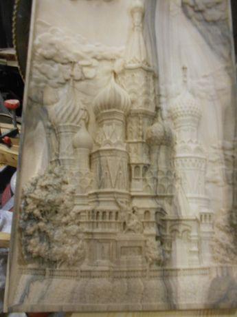 Панно картина резная из ореха Покровский Собор