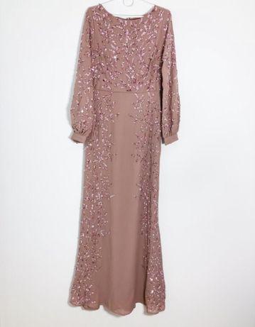 Różowa zdobiona cekinowa sukienka maxi z bufkami 34 XS Maya Asos