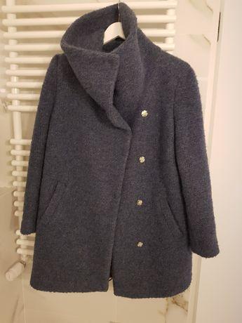 Niebieski płaszcz wełniany M