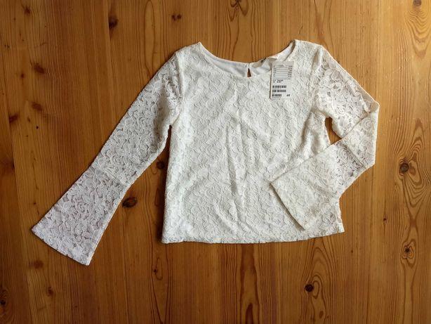 NOWA h&m 140 elegancka bluzka długi rękaw koronka