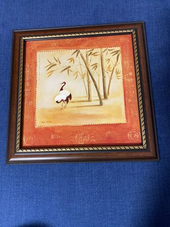 Картина фен-шуй «Пара журавлей» 33х33