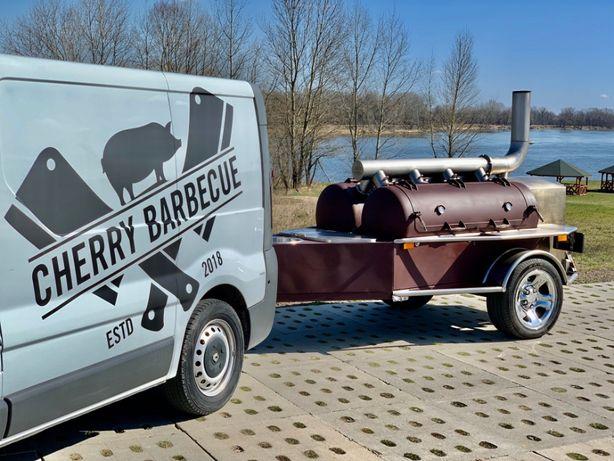 Grill Catering Mobilny Barbecue BBQ V8 Smoker Imprezy Eventy
