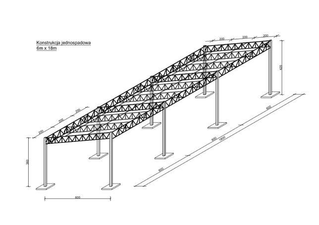 Konstrukcja Stalowa 6x18 - Wiata Hala - Nowa i Solidna
