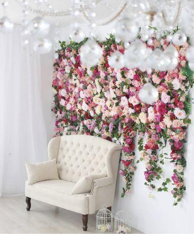Цветочная стена декор для фотостудии фотозона из цветов