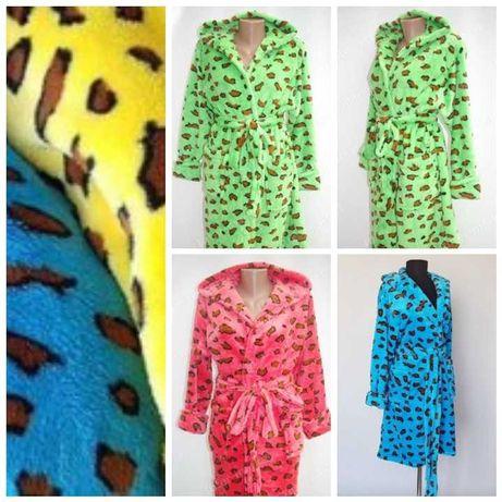 Халати жіночі леопард на запах махровий, короткий та довгий