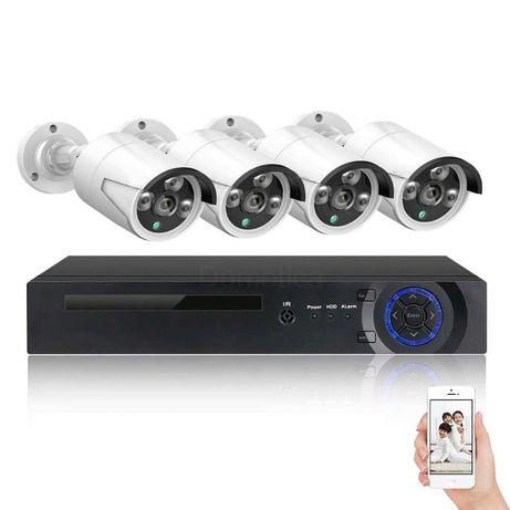 Conjunto Gravador NVR* PoE* 4 câmaras FullHD vídeo vigilância c/áudio