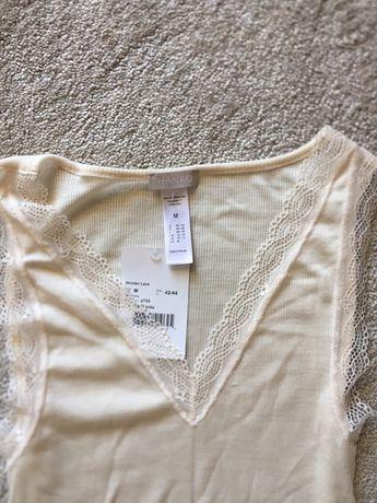 Blusa de Malha canelada e renda HANRO lã/seda ou lisas seda/cashmira