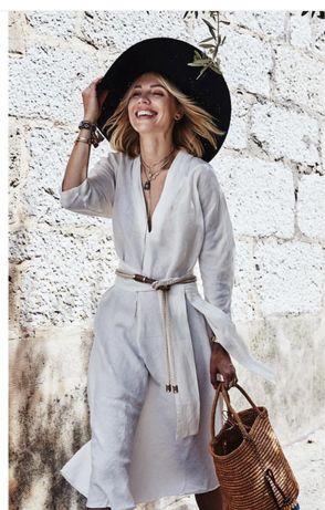 Zara платье лен белое