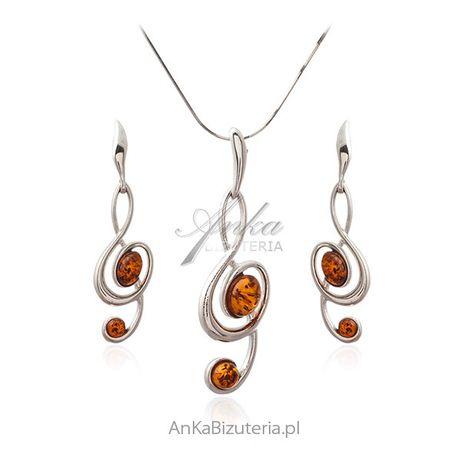 ankabizuteria.pl Srebrna biżuteria z bursztynem - Komplet muzyczny