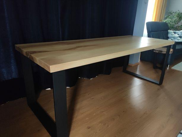 Stół, biurko z metalowymi nogami, blat jesion, loft