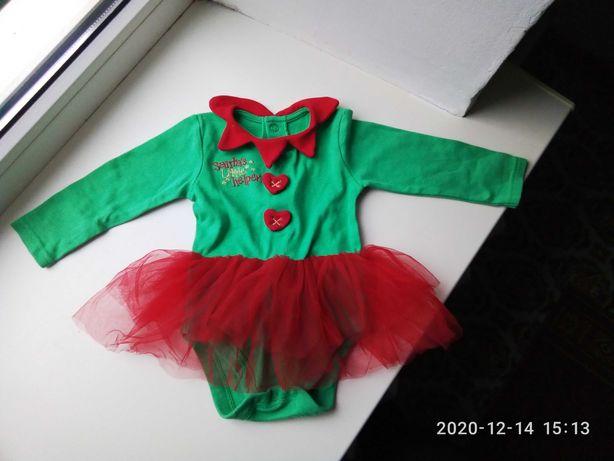 Новогодний костюм для девочки 9-12 месяцев