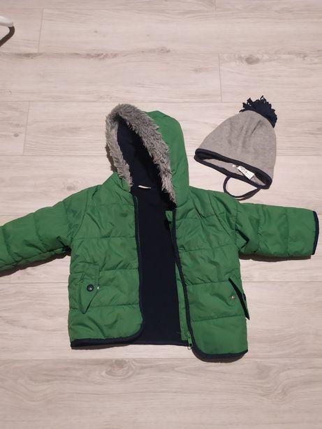 Kurtka zimowa na polarze zielona chłopięca 9-12 msc rozmiar 80