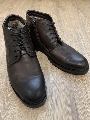 Мужские зимние кожаные теплые ботинки