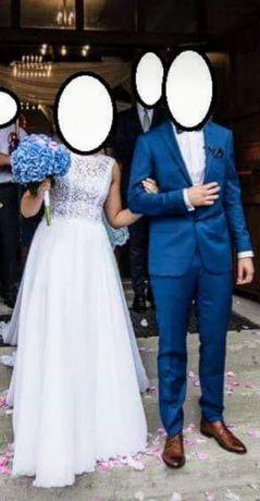 Suknia ślubna muślinowa odkryte plecy gołe plecy rozmiar S