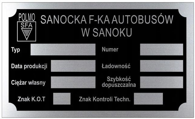 POLMO SANOK - Tabliczka znamionowa aluminiowa