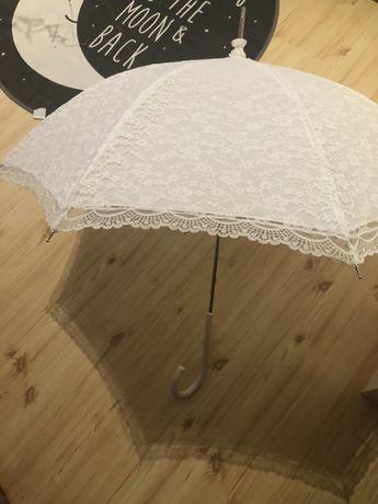 Parasol koronkowy bialy do ślubu sesji ślubnej