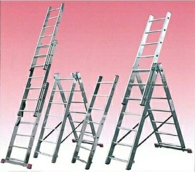 Лестница алюминиевая двухсекционная 2х7 ступеней, стремянка, лестницы