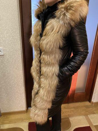 Пуховик кожаный, зимняя куртка, пальто с мехом 46 размер.