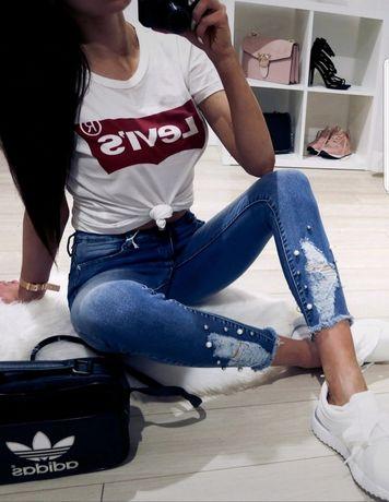 Granatowe jeansy z perełkami skinny dopasowane S M