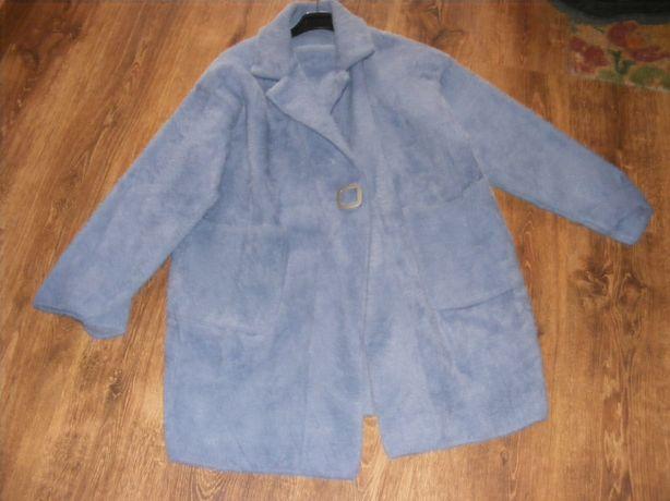 Płaszcz alpaka kolor jeans większa
