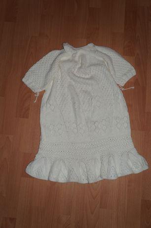 Белое вязаное платье 1- 4 года Ангел